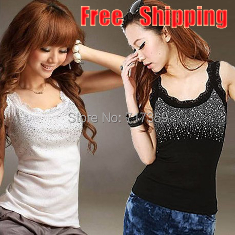 On Sale 1pc Black/Grey/White Women/Ladys Tops Vest Rhinestone Design T-Shirt Tank Free Shipping AY651302