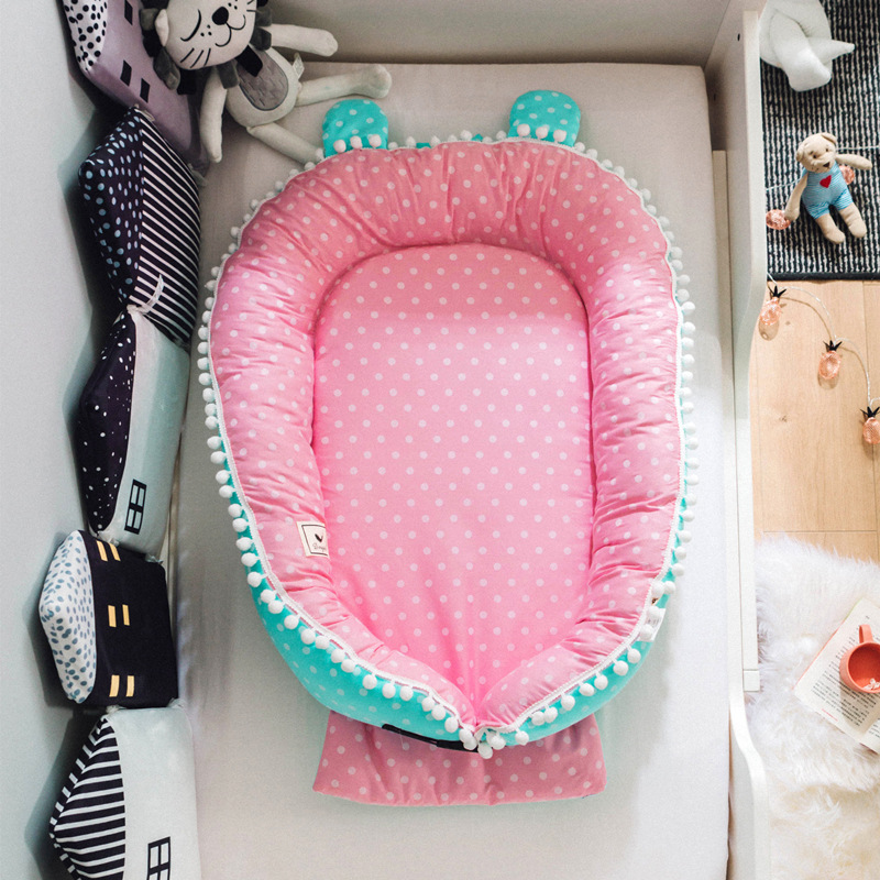 Baby Co-sleeping Cribs Soft Cotton Baby Nest Bassinet Crib Bumper Portable Travel Bed For Infant Thick Mattress For Cradle