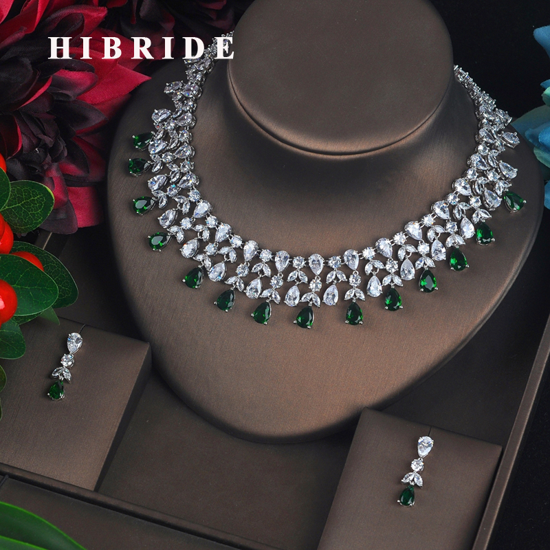 HIBRIDE Fashion Jewelry Sets For Women Green And Red Cubic Zirconia Brincos Necklace Set Wedding Dress
