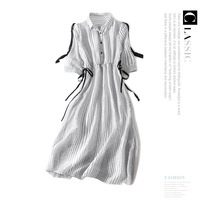 Striped three quarter sleeve loose plus size casual shirts dress 2018 new high quality office lady women summer long dress