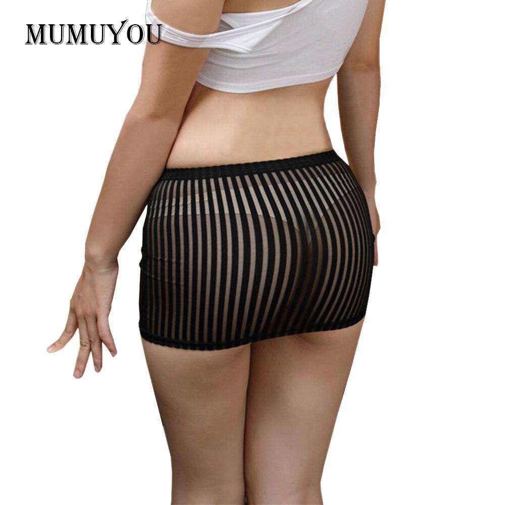Bodycon Bandage Skirt See Through Micro Mini Booty Stripes Clubwear Invisible High Waist Transparent Ice Silk Mesh 906-576