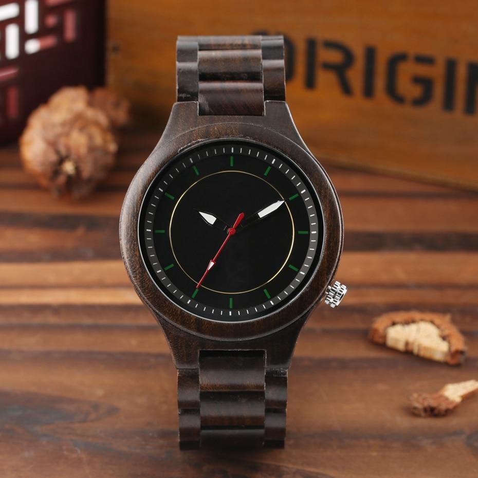 Wooden Watch Men's Creative Red Pointer Green Scale Round Analog Watch Natural Ebony Band Clock Man Fashion Quartz Wristwatches 2018  2020  (7)