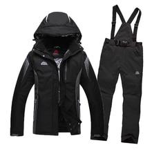 Livraison Gratuite 2016 Hommes de Combinaison de Ski Imperméable Coupe-Vent Veste de Ski + Pantalon Épaissir Chaud Vêtements Pantalon Hommes Snowboard Mountaine