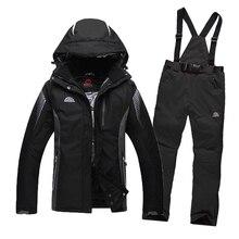 El envío Libre 2016 hombres Traje de Esquí Impermeable A Prueba de Viento Chaqueta de Esquí + Pantalones Espesar Ropa de Invierno Pantalones de Snowboard Hombres Cerro