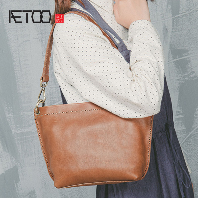AETOO Literary wind retro women leather shoulder Messenger bag high-end custom first layer of leather handbags qiaobao 2018 new korean version of the first layer of women s leather packet messenger bag female shoulder diagonal cross bag