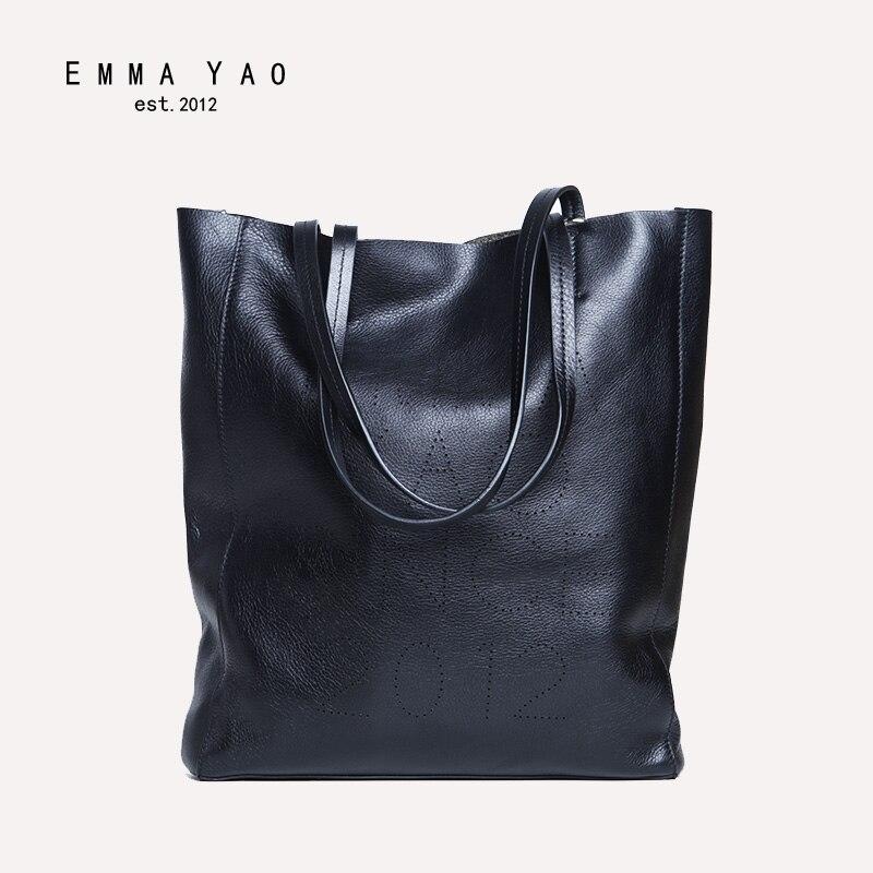 EMMA YAO leather women bag fashion tote bag new designer famous brand women messenger bags цена 2017
