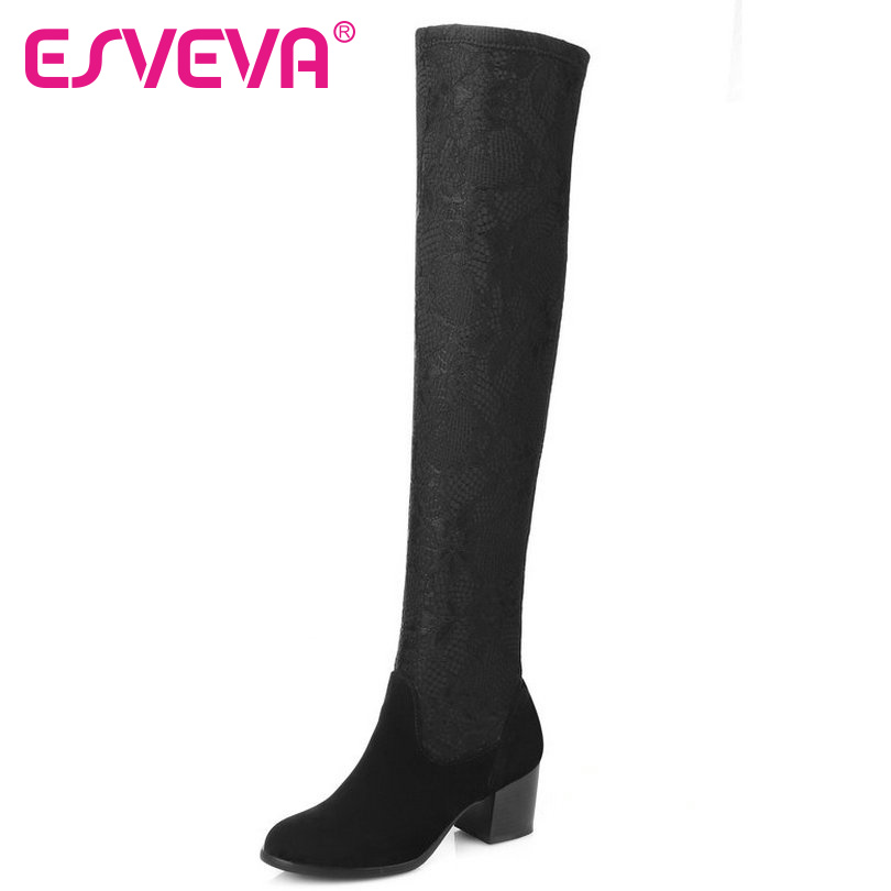 ESVEVA 2016 Sexy Winter Shoes Women Boots Stretch Fabric Square High Heel Over The Knee Boots Ladies Fashion Boots Size 34-43