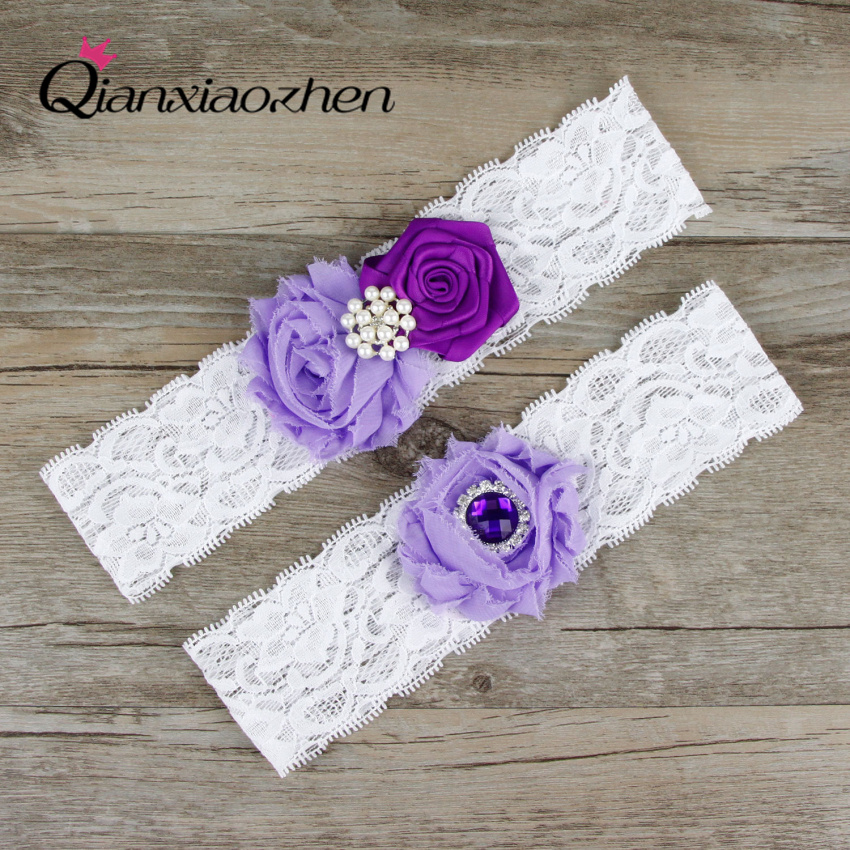 Why Two Garters For Wedding: Qianxiaozhen Lilac And Purple Wedding Accessories 2pcs/set