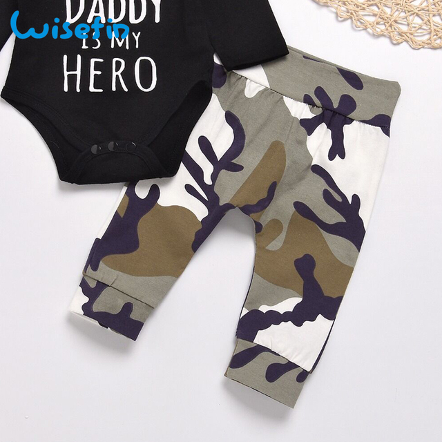 Wisefin Newborn Baby Boy Clothes Set Infant Clothes Outfits Toddler Baby Clothing Baby Set Letter Bodysuit Long Sleeve+Camo Pant