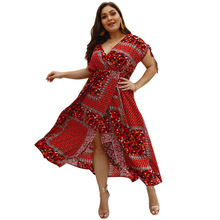Summer Big Size Dresses for Women Super Casual Print Bohemian Open Dress Ladies Oversized Plump Girl Elegant