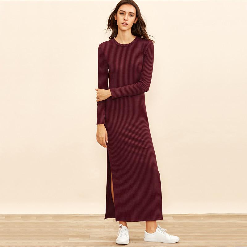 COLROVIE Winter Dresses for Women European Style Women Fall Dresses Burgundy Knitted Long Sleeve High Slit Ribbed Dress 10