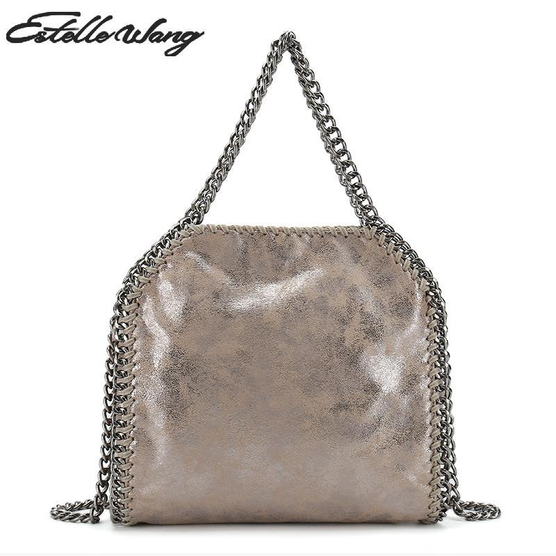 f10cdd03d34c Estelle Wang Fold Over Pvc Tote Handbags 3 Chains Crossbody Bags Fashion  Solid Hasp Handbags Khaki