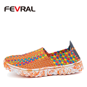 Image 2 - FEVRAL Marke Frau Multi Farben Weichen Freizeit Wohnungen Frau Hand woven Atmungsaktive Schuhe 2021 Mokassins Casual Frau Faulenzer
