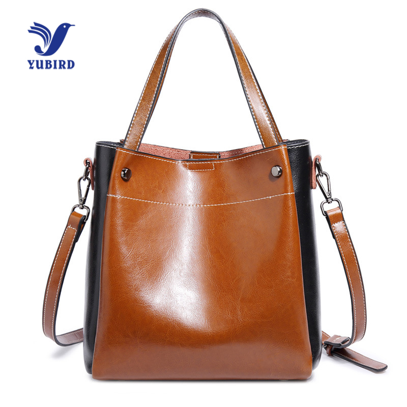 YUBIRD Fashion Women Shoulder Bag Genuine Leather Handbags Tote Patchwork Bucket Bags Handbags Female Bag Crossbody sac a main leather bags handbags women famous brands big solid bucket bag female tote hand bag shoulder crossbody bags for women sac a main