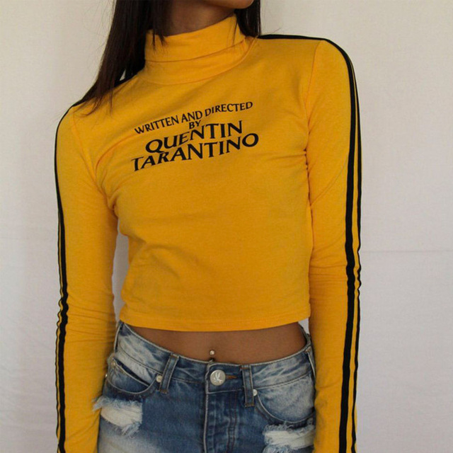 8b4a5c6b7cd 2018 Fashion Quentin Tarantino Sexy Crop Tops Women Side Stripe Long Sleeve  Turtleneck Knitted Short tshirt