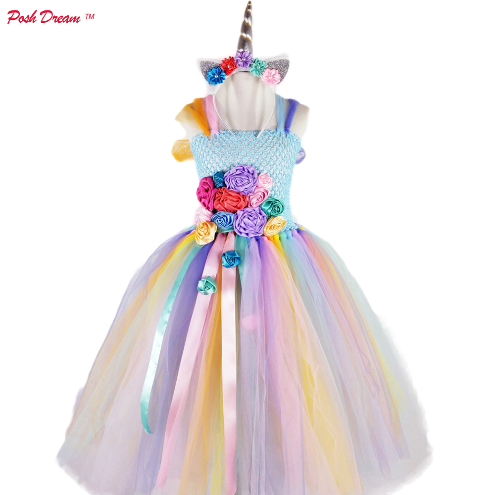 1a4682a46d4 POSH DREAM Easter Unicorn Princess Children Girls Tutu Dresses Unicorn Kids  Girls Clothing for Birthday Party