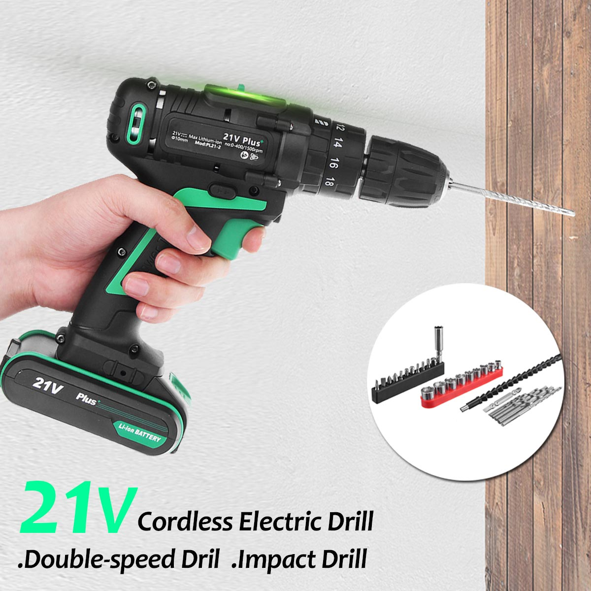 AC 100-240V 21V Plus Cordless Electric Screwdriver Rechargeable Power Drills Tools Lithium-ion Battery Electrical Hand Drill Set