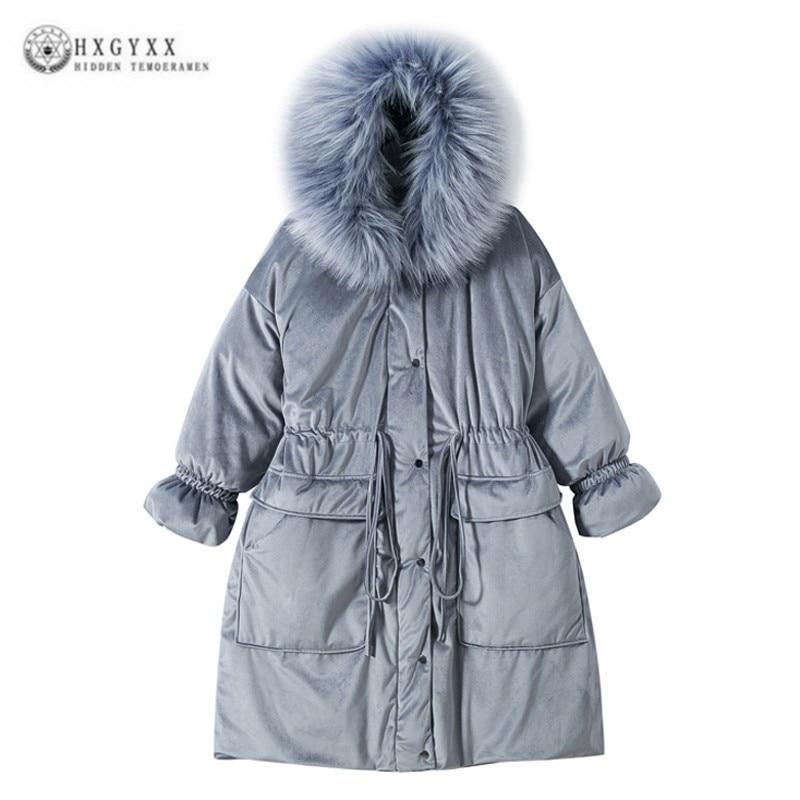 2018 Plus Size Ukraine Velvet   Parka   Feminina Clothes Female Long Down Cotton Winter Jacket Women Big Hair Collar Overcoat J158