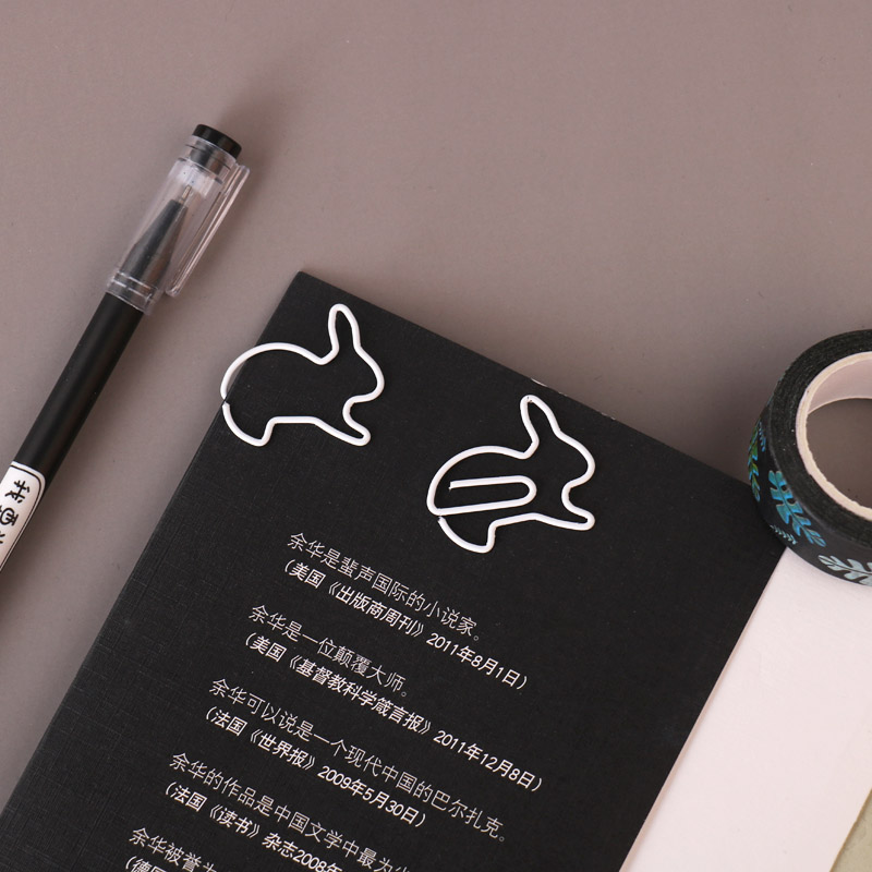 TUTU Creative 20Pcs Rabbit Bookmark Planner Paper Clip Metal Material Segnalibri For Book Stationery School Office H0272