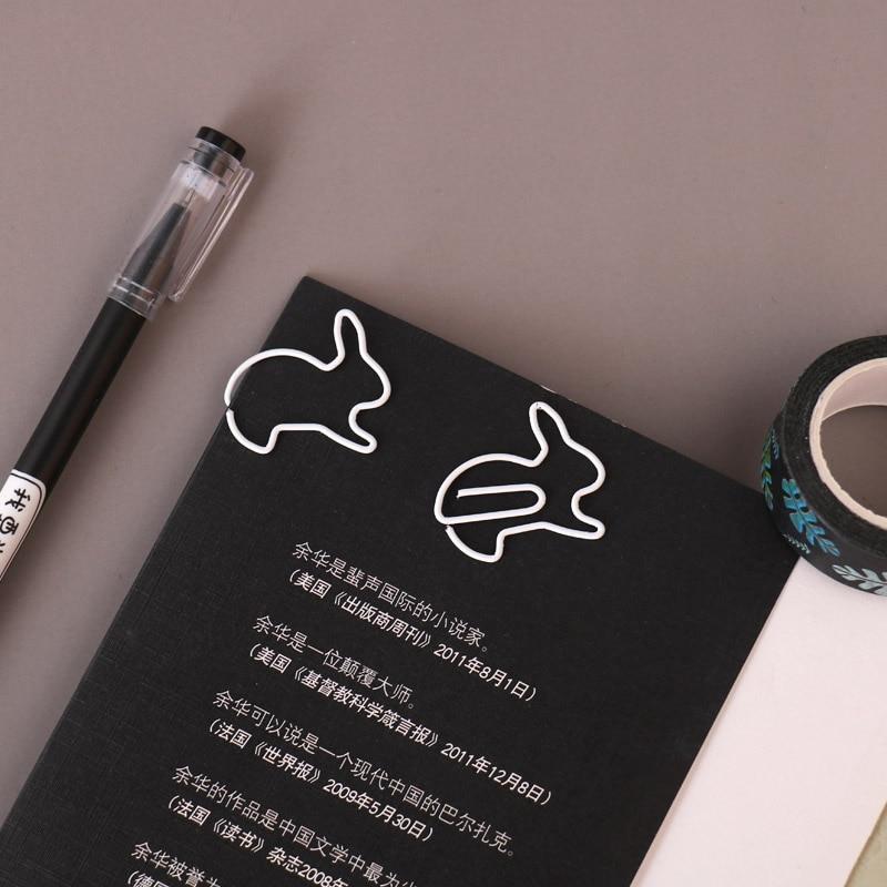 TUTU Creative 20Pcs Rabbit Bookmark Planner Paper Clip Metal Material Segnalibri For Book Stationery School Office H0272