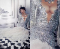 2019 Sparkly Silver Rhinestones Dress Big Train Women Birthday Dress Prom Celebrate Nude White Mesh Tail Dresses Evening Outfit