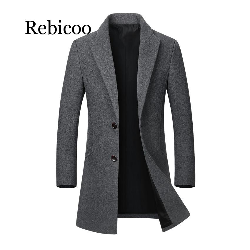 Men Jacket Warm Winter Trench Coat Long Outwear Button Overcoat Male Casual Windbreaker Overcoat Jackets coats Wool Blends(China)