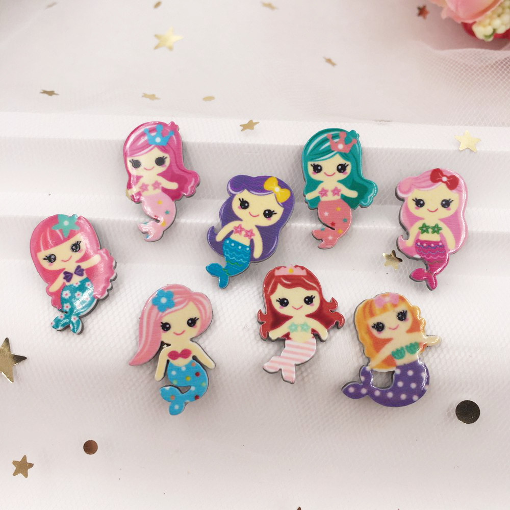 Lovely Colorful Mix Various Mermaid Flat Back Acrylic Sheet Miniature Pattern Applique DIY Wedding Scrapbook Home Decor Crafts