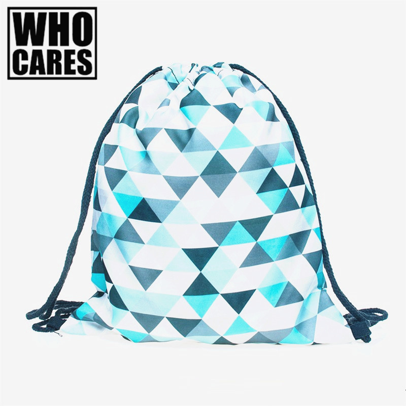 Mint triangles azure 3D printing backpack Women 2017 drawstring bag brand Travel bags mochila feminina Classic forever sac a dos
