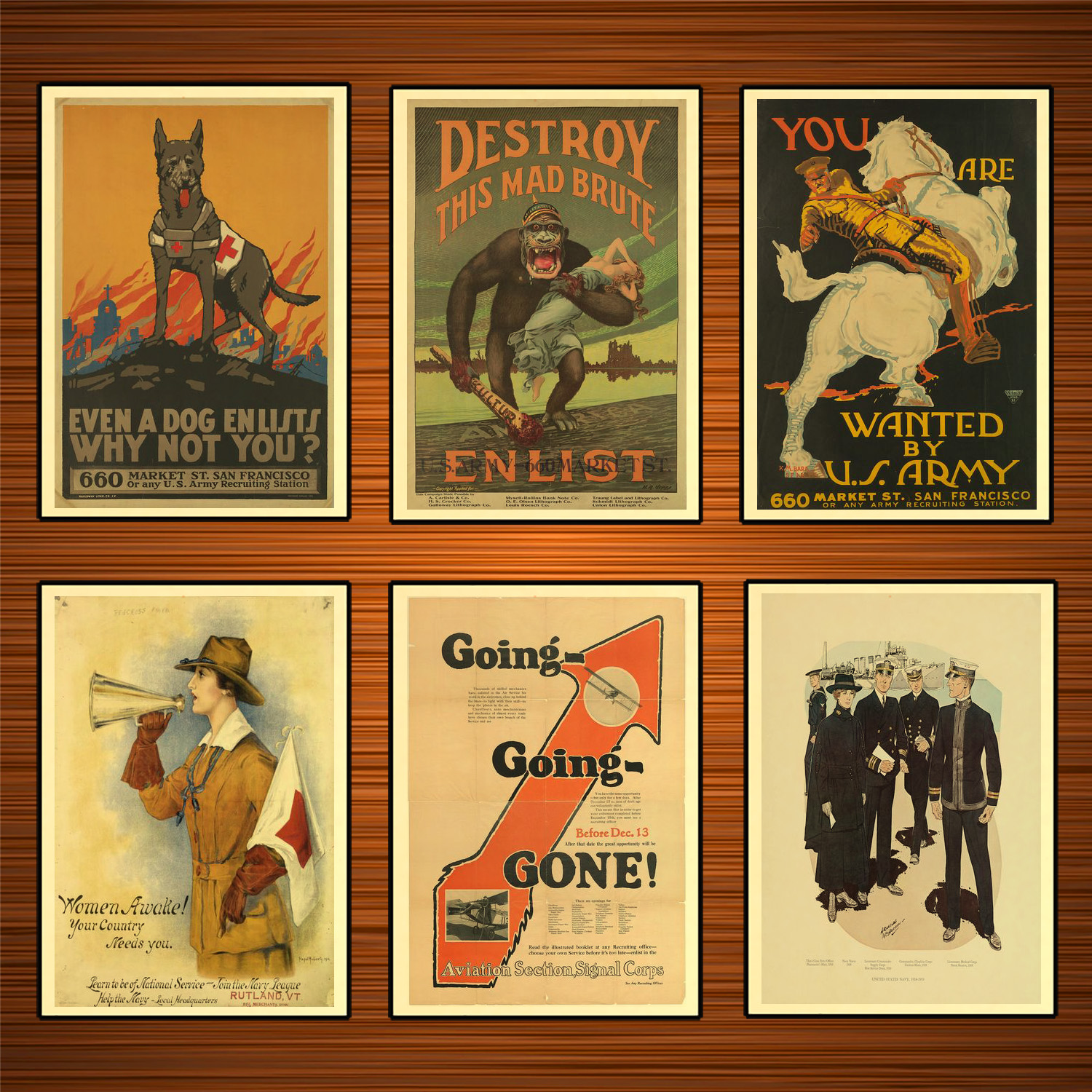 Vintage 1910s USA WW1 Propaganda Poster Destroy This Mad Brute Classic Canvas Paintings Wall Stickers Home Decor Gift image