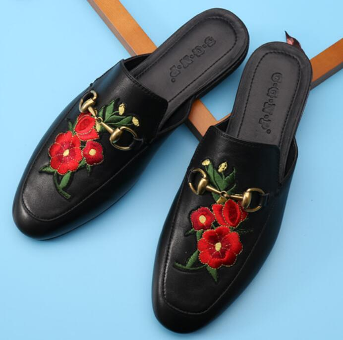 Men Embroidery Semi-Slippers Real Leather Backless Mules Loafers Slippers Shoes Black A10 fghgf shoes men s slippers mak