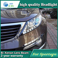 Estilo do carro caso Da Lâmpada de Cabeça para Kia Sportage SL Faróis LED Farol DRL Lente Feixe Duplo Bi-Xenon HID Acessórios do carro