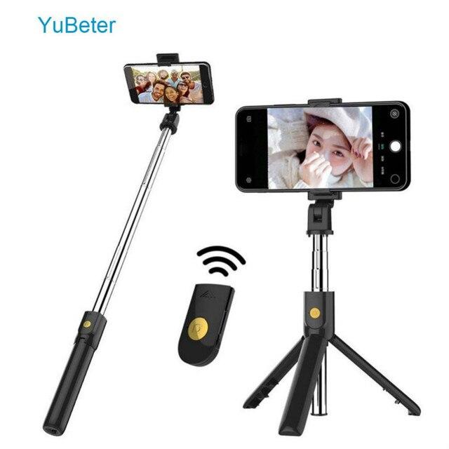 YuBeter מתקפל Bluetooth Selfie מקל חצובה Selfie מקל עם אלחוטי כפתור תריס עבור iPhone X 8 7 סמסונג Huawei Xiaomi