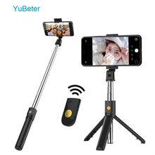 YuBeter plegable Bluetooth Selfie Stick trípode Selfie Stick con disparador de botón inalámbrico para iPhone 7X8 Samsung Huawei Xiaomi(China)