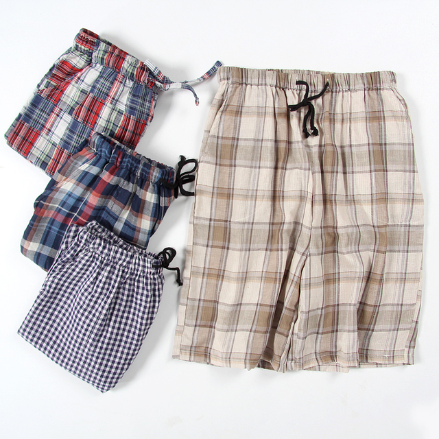 Summer male plus size fresh plaid thin cotton double cotton yarn sleep shorts elastic waist night shorts