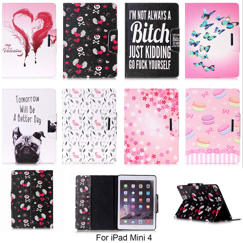 Fashion Cartoon Dog Butterfly Flower Pattern Case For Apple iPad mini 4 mini4 7.9 Cover PU Leather Tablet Stand With Card Slot