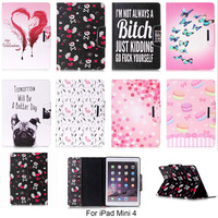 Fashion Cartoon Dog Butterfly Flower Pattern Case For Apple iPad mini 4 mini4 7.9'' Cover PU Leather Tablet Stand With Card Slot