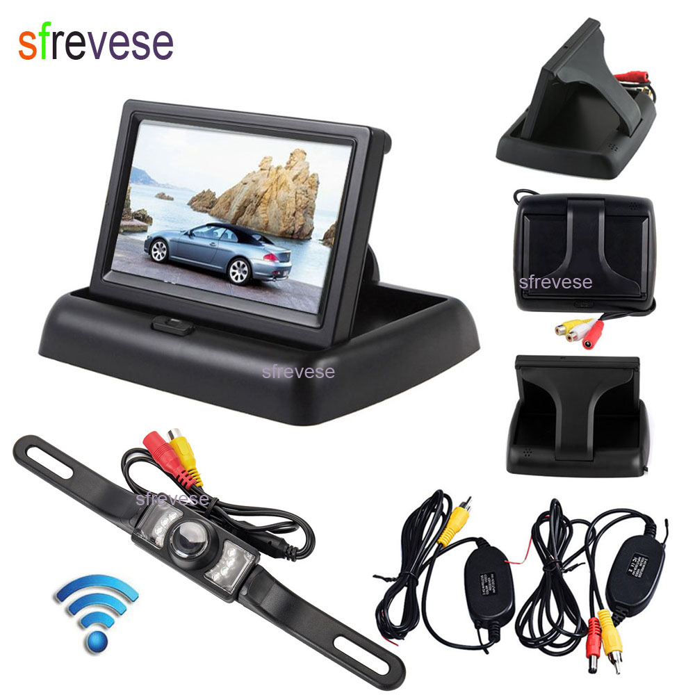 4 3 LCD Foldable Monitor Car Rear View Kit Wireless 7 IR Night Vision Car Reversing