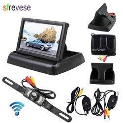 """4.3 """"LCD składany Monitor samochodowy zestaw do widoku z tyłu + bezprzewodowy 7 IR Night Vision cofania samochodu kamera cofania wodoodporna w Kamery pojazdowe od Samochody i motocykle na"""