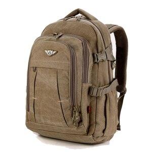 Image 5 - 남자 군사 캔버스 배낭 지퍼 배낭 노트북 여행 어깨 Mochila 노트북 Schoolbags 빈티지 대학 학교 가방
