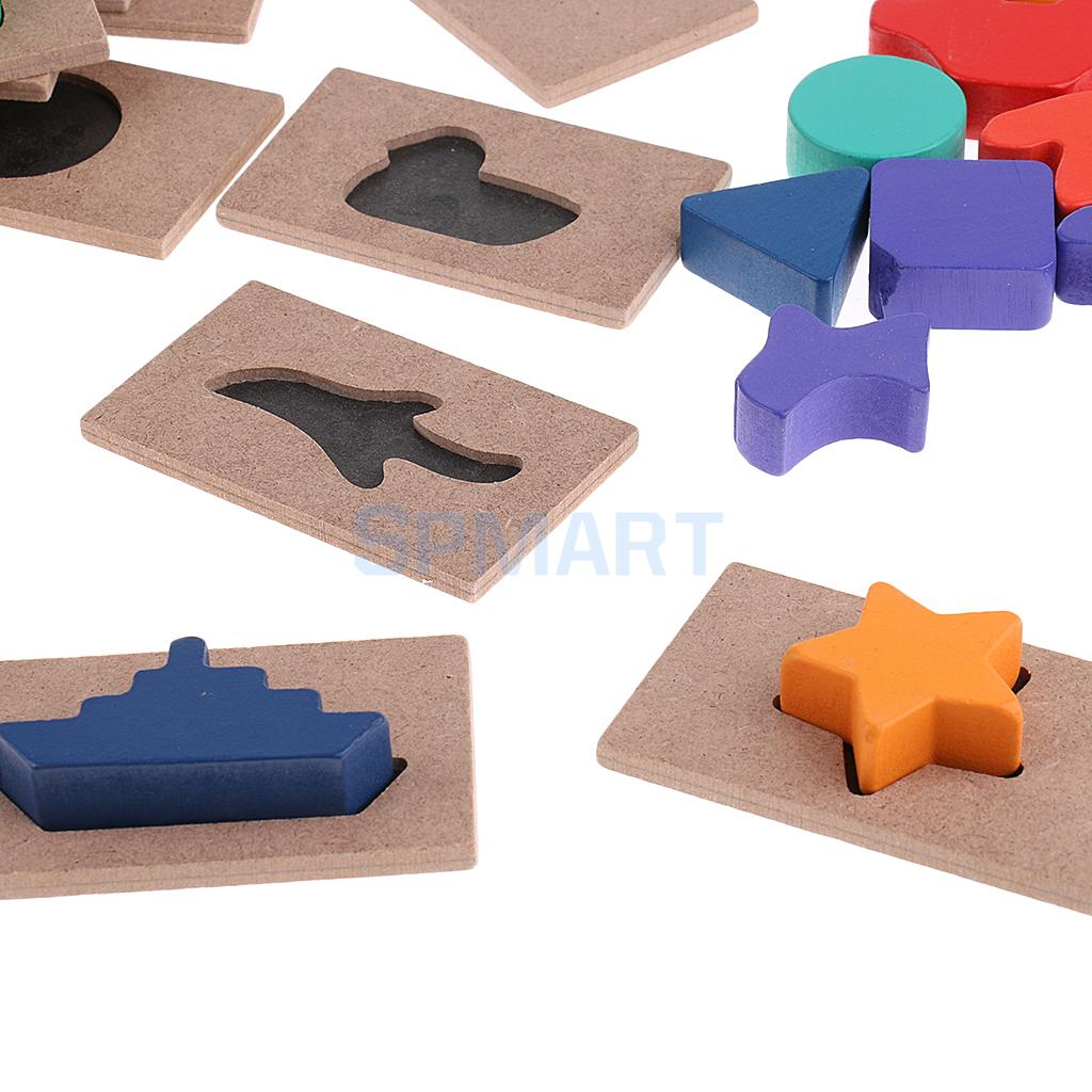 Kids Montessori Shadow Matching Insert Boards Toy Jigsaw Puzzles Wooden Gift