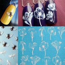 1 Uds. Calcomanía de transferencia de agua de pegatinas para uñas, animales lindos, flamenco, abeja y flor, diseños en 3D, decoración de manicura