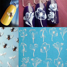 1pcs Nail Stickers Water Transfer Sticker Cute animals Flamingo Bee And Flower 3D Designs Art Slider Manicure Decoration