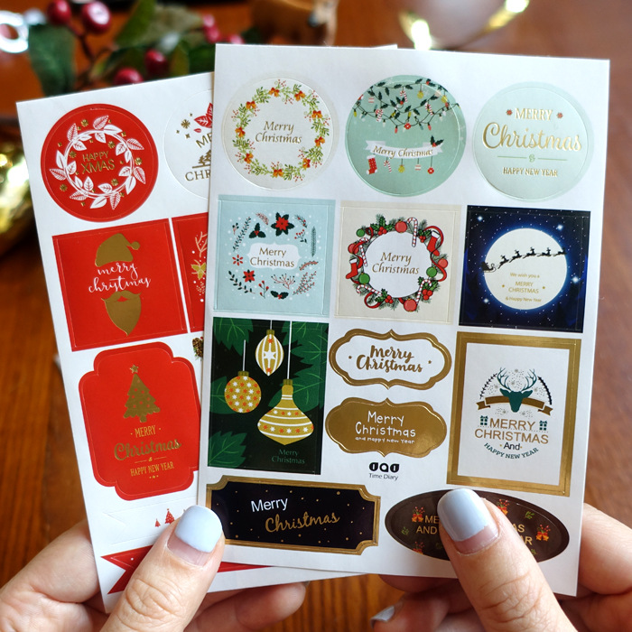24pcs/2sheets Christmas Sticker Labels Adhesive Gift Tags Wrap Tags Labels For Holiday Presents, Scrapbooking, Birthday,Baking