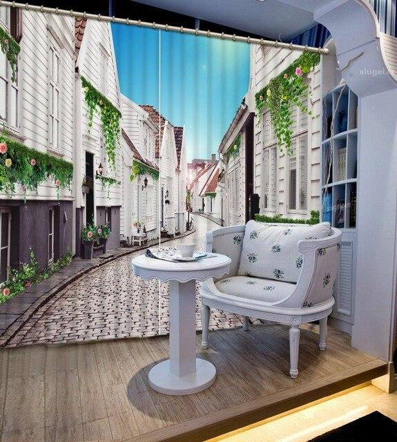 Branco cortina da janela blackout cortinas para casa moderna decora o 3d campo cen rio cortinas - Cortinas para casa de campo ...