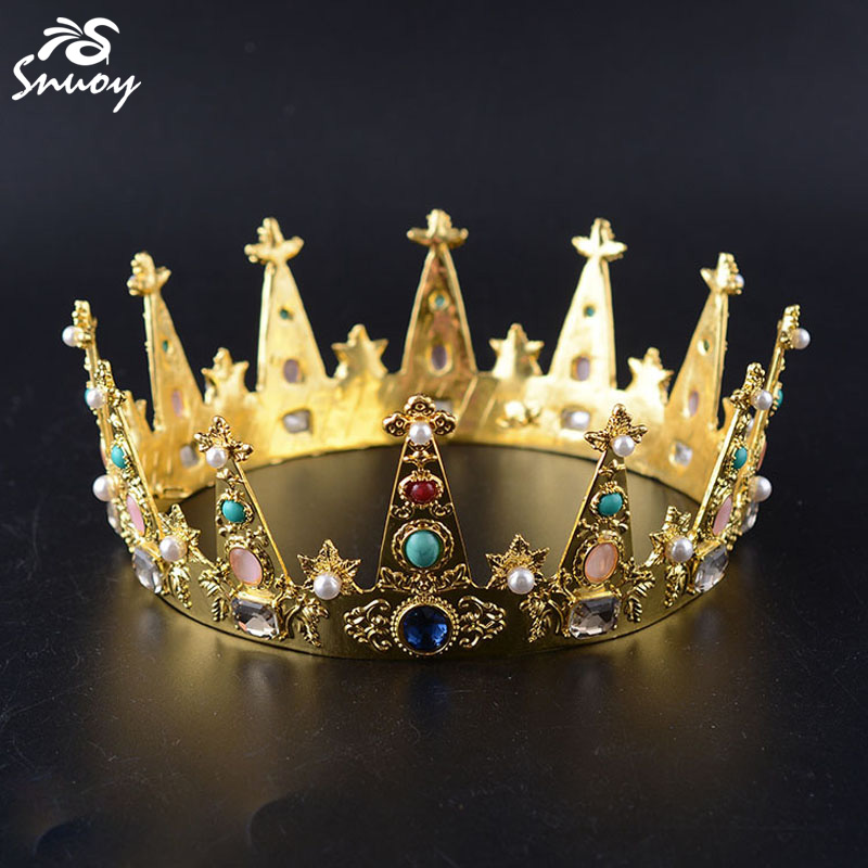 Snuoy King Crown and Tiara For Men Golden Colorful Crystals Birthday Diadem For Party Hair Accessories Jewelry for Birth Date queen and king style party cosplay headwears golden 2 pcs