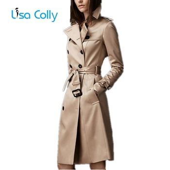 Lisa Colly Women Autumn Coat Overcoat New Double-Breasted Slim Trench  Fashion Long Windbreaker Business Outerwear
