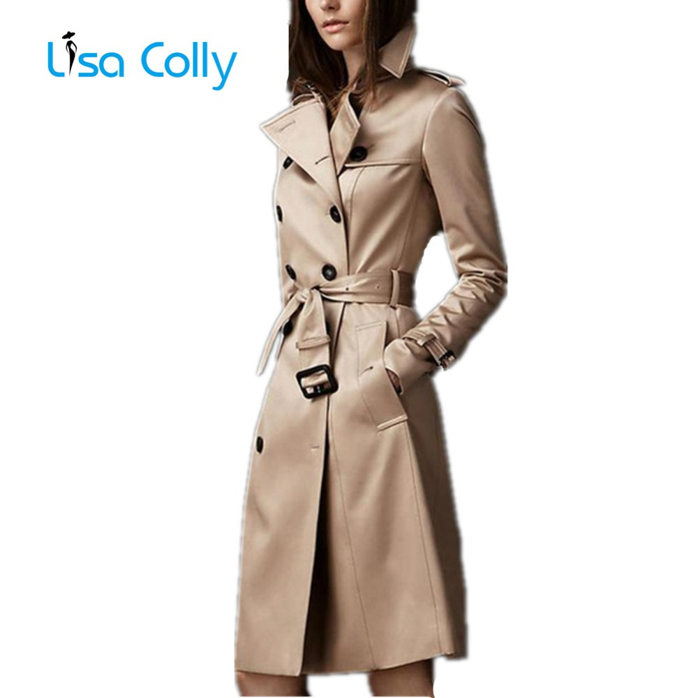 Lisa Colly Women Autumn Coat Overcoat New Double-Breasted Slim Trench Coat Fashion Long Windbreaker Women Business Outerwear