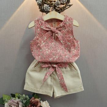 BOSTYED summer girl clothing sets fashion children printing flower sleeveless top pocket shorts clothes girls 10 years conjuntos casuales para niñas
