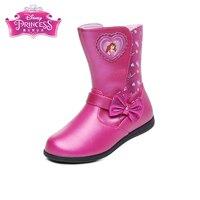 Disney Princess Sophia Winter Snow Boots Pu Leather Waterproof Boots Ankle Boots Heels Shoe Girl Zip