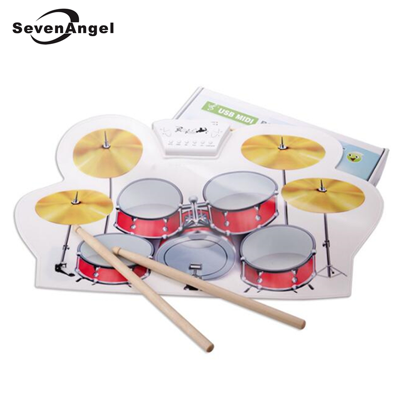 USB Drum Kit PC Desktop Hand Roll up Electronic Drum Pad Portable with 2 Drumsticks and 1 Drum Foot Pedal басовый пэд millenium e drum bass drum pad